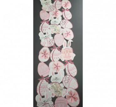 Bieżnik Haftowany - 20x160 -  Biało-różowe - pisanki - zajączeki - 0388 wielkanoc