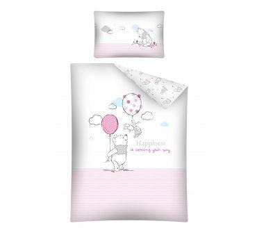 Pościel dziecięca z bawełny do łóżeczka -  Kubuś z Różowym Balonikiem - 100x135+ 40x60 - Wtp 26 A