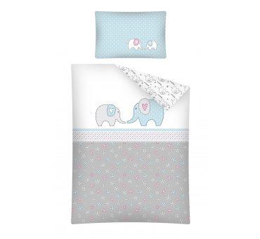 Pościel dla dzieci z bawełny do łóżeczka - Niebieski Słonik - 100x135 +40x60 - 2853 A
