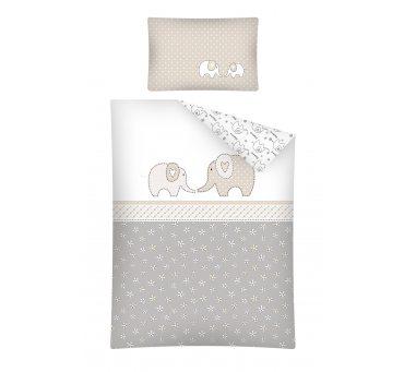 Pościel dla dzieci z bawełny do łóżeczka - Beżowy Słonik - 100x135 +40x60 - 2853 B