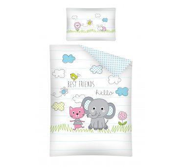 Pościel dla dzieci z bawełny do łóżeczka - Kotek - Słonik  - 100x135 +40x60 - 2854 A