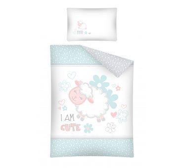 Pościel dla dzieci z bawełny do łóżeczka -  Owieczka  - 100x135 +40x60 - 2856 A