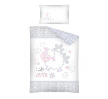 Pościel dla dzieci z bawełny do łóżeczka - Owieczka  - 100x135 +40x60 - 2856 B