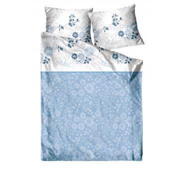 Pościel satynowa  Frotex - Villa Como - Niebieskie Kwiatuszki  - 140 x 200 +70x80 -  greno