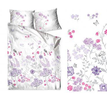 Pościel satynowa  Frotex - Aroma - Fioletowe Kwiatuszki - 160 x 200 -  greno