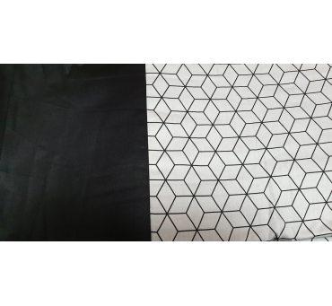 Pościel satynowa dwustronna - 200x220 +2/70x80 + 2/jaś - biało czarna - 18693/4 - Andropol