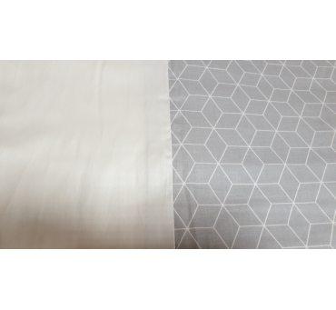 Pościel satynowa dwustronna - 200x220 +2/70x80 + 2/jaś - biało popielata - 18693/3 - Andropol