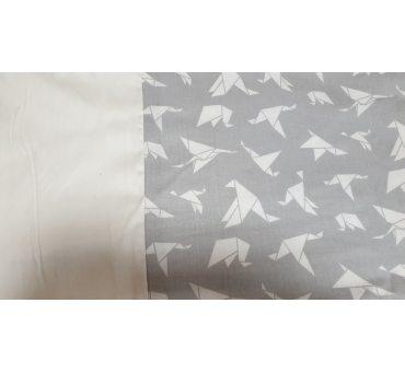 Pościel satynowa dwustronna - 200x220 +2/70x80 + 2/jaś - Origami - biały, szary - 18704/3 - Andropol