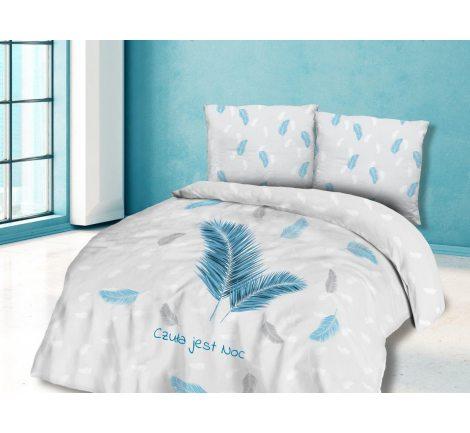 Pościel z Bawełny - Niebieskie Piórka  - 220x200 - 61440/1 - vintage - czuła jest noc