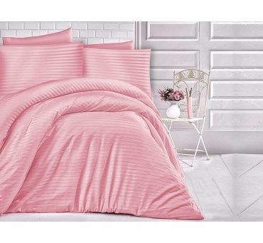 Pościel z satyny bawełnianej  -  paski -  róż przygaszony - 160 x 200 Cizgili Pink