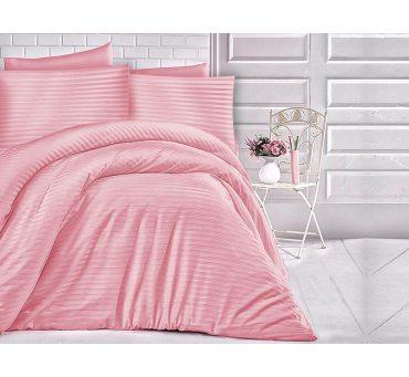 Pościel z satyny bawełnianej paski róż przygaszony 200x220 Cizgili Pink
