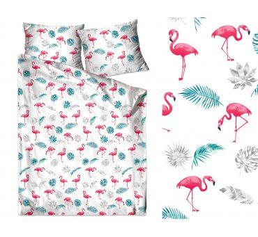 Pościel bawełniana - 160x200 - Flamingi - Bielbaw