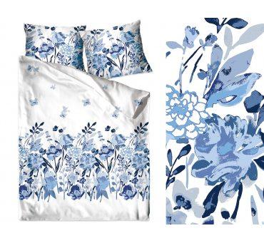 Pościel z bawełny - 140x200 + 70x80 - Flo Błękitna - Bielbaw