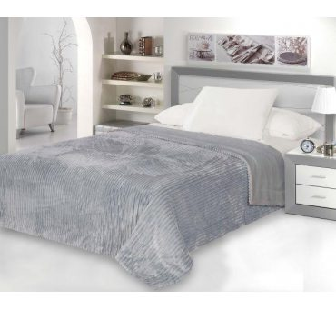 Koc  - narzuta - Capri - 200x220 - Grey Microfibra  szary