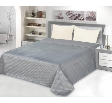 Narzuta jednobarwna - 200x220 Velvet -  Szary - Welurowa   Grey