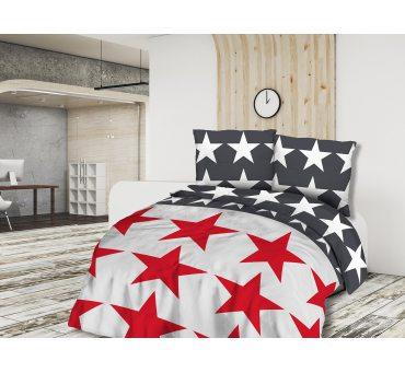 Pościel z bawełny - 180x200 - biało czerwone gwiazdki -  Cottonlove 71410/1