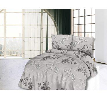 Pościel bawełniana - 180x200  - Szare kwiatuszki -  Cottonlove 71415/1