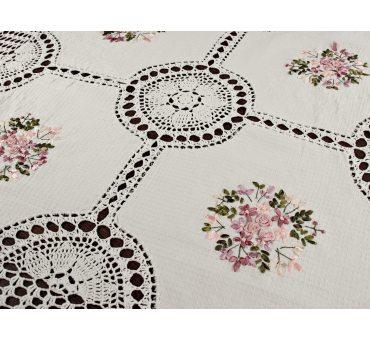 Obrus szydełkowy 110x110 - kolorowe kwiaty - 0020