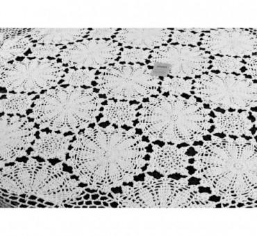 Obrus szydełkowy śr.145 cm - biały int 0019