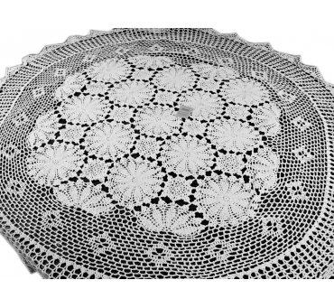 Obrus szydełkowy śr.152 cm - biały int 0019