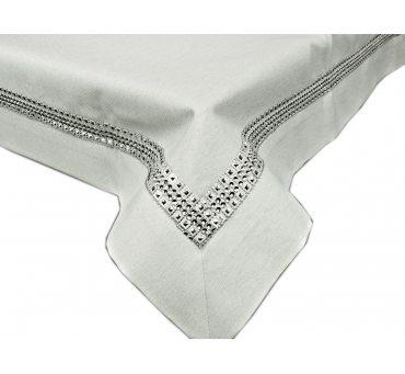 Obrus dekoracyjny  - 140x220 - Biały ze srebrna listwą -  18534-1