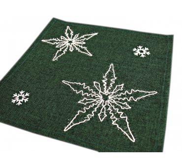Serwetka świąteczna - zielona, biała gwiazda  - 25 x 25 - 1878  boże narodzenie