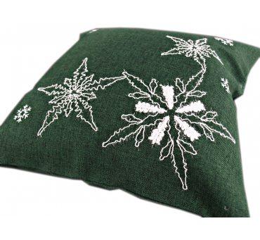 Poszewka świąteczna  - zielona, biała gwiazda  - 40x40 - 1878  boże narodzenie  1 szt