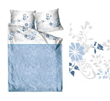 Pościel satynowa  Frotex - Villa Como - Niebieskie Kwiatuszki  - 220 x 200  -  greno