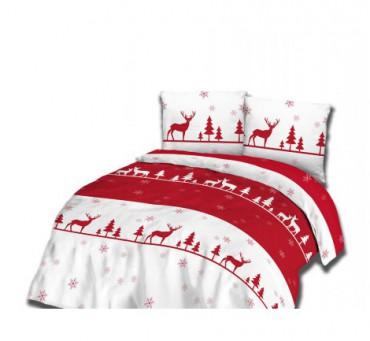 Kpl.pościeli z flaneli  - 220x200 - Biało,  czerwone -  Renifery  - 31466/2  świąteczna