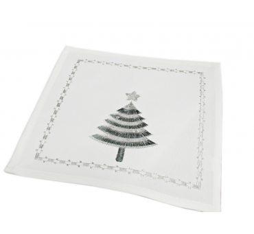 Serwetka świąteczna - biała, serbrna choinka  -  25 x 25 int 43166 white - boże narodzenie
