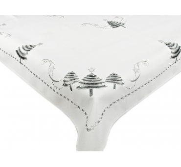 Obrus świąteczny - srebrna choinka - 140 x 220 cm int 43166  white - boże narodzenie