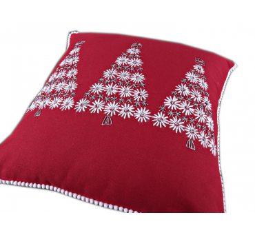 Poszewka Haftowana -  Biało srebrne  Choinki  - 40x40 int 181268  - 1 szt  Boże Narodzenie