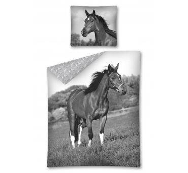 Komplet pościeli dziecięcej - szary, grafitowy, biały - 160x200 cm - Koń 2675  Horse Ridding
