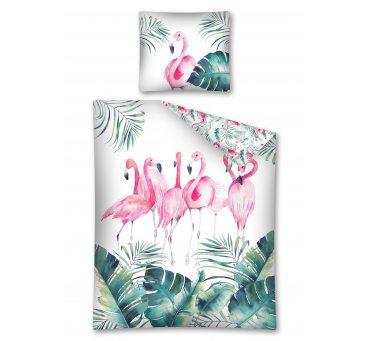 Pościel bawełniana - 160x200 + 70x80 - Flamingi - 2915 a