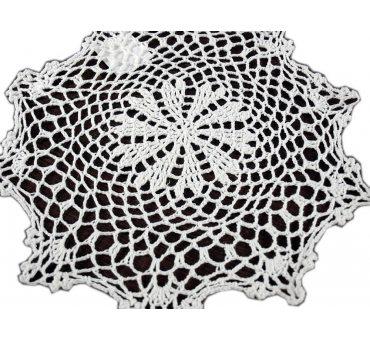 Serwetka szydełkowa biała -  sr. 30 cm - 6158 -  Biały - ręcznie robiona