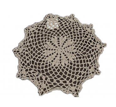 Serwetka szydełkowa - beżowa -  sr. 30 cm - 6158 -  Beż - ręcznie robiona