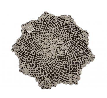 Serwetka szydełkowa - beżowa -  sr. 40 cm - 6158 -  Beż - ręcznie robiona