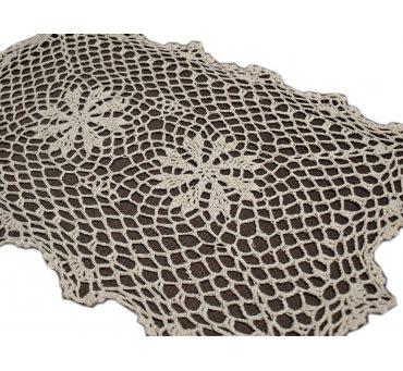 Serwetka szydełkowa - beżowa -  30x45 cm - 6158 -  Beż - ręcznie robiona