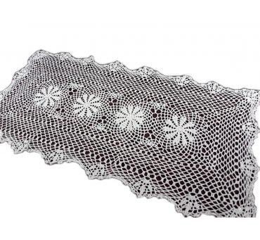 Bieżnik szydełkowy -  biały - 40x90 - 6158 -  Biały - ręcznie robiony