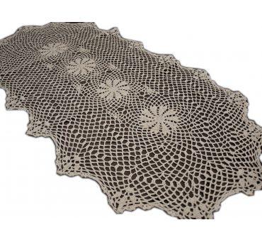 Bieżnik szydełkowy - beżowy - 40x90 cm - 6158 -  Beż - ręcznie robiony - owal