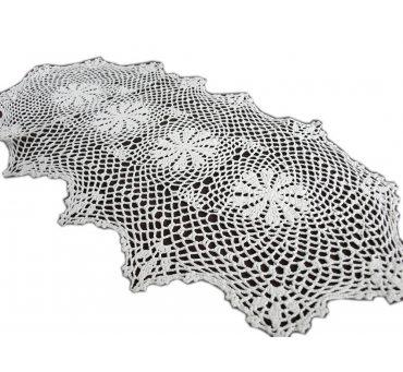Bieżnik szydełkowy -  biały - 50x100 - 6158 -  Biały - ręcznie robiony -  owalny