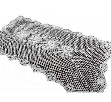 Bieżnik szydełkowy -  biały - 60x120 - 6158 -  Biały - ręcznie robiony