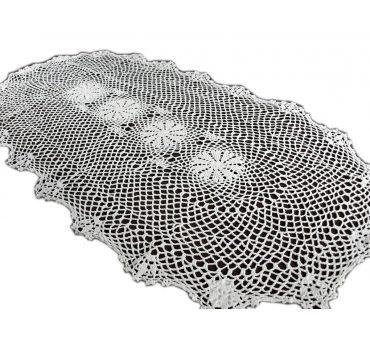 Bieżnik szydełkowy -  biały - 60x120 - 6158 -  Biały - ręcznie robiony  - owal