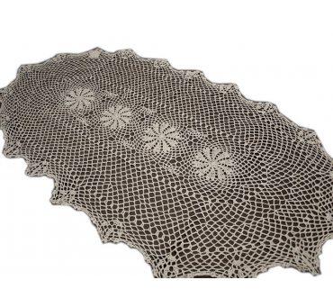 Bieżnik szydełkowy -  beżowy  - 60x120 - 6158 -  Beż - ręcznie robiony  - owal