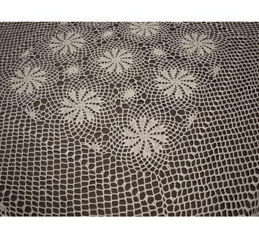 Obrus szydełkowy -  beżowy - 100x100  - 6158 -  Beż - ręcznie robiony