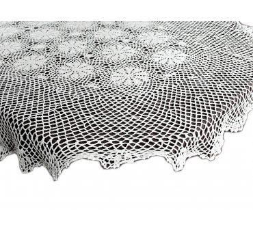 Obrus szydełkowy -  biały - 120x160  - 6158 -  Biały - ręcznie robiony   owalny
