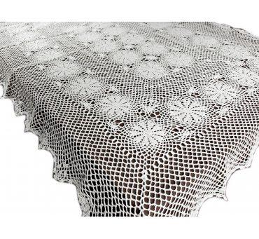 Obrus szydełkowy -  biały - 150x300  - 6158 -  Biały - ręcznie robiony