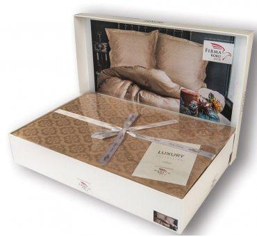 Pościel z satyny bawełnianej - 160x200 - Monte Beige - Luxury Exclusive w pudełku na prezent