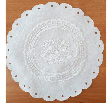 Serwetka swiąteczna z koronką śr. 30 biała 0407 - Wielkanoc - do koszyczka