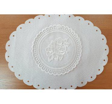 Serwetka swiąteczna z koronką 30x40 biała 0407 - Wielkanoc - do koszyczka